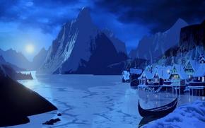 Картинка снег, пейзаж, горы, ночь, огни, озеро, луна, дым, дома, каноэ