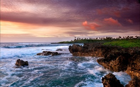 Картинка небо, облака, океан, побережье, Cook Islands, Avarua, Rarotonga