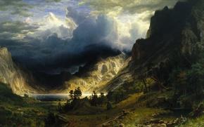 Картинка небо, горы, тучи, природа, фото, картина, живопись