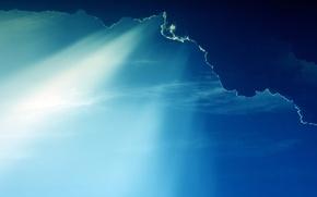 Обои лучи солнца, небеса, пейзаж, свет, облака
