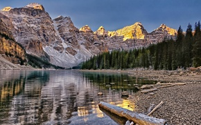 Картинка лес, горы, Канада, Banff National Park, Canada, Moraine Lake, Valley of the Ten Peaks, Озеро ...
