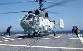 Картинка корабль, Вертолет, посадка, ка 27, вмф россии
