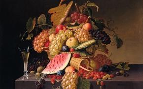 Обои картина, арбуз, Поль Лакруа, ягоды, Летнее Изобилие, натюрморт, виноград, клубника
