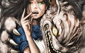 Картинка кот, девушка, аниме, арт, когти, алиса в стране чудес, alice, alice: madness returns, cheshire cat
