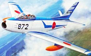 Картинка war, art, airplane, aviation, jet, F-86F-40 Sabre 'Blue Impulse Early Scheme'