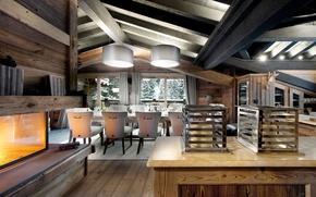 Картинка дизайн, дом, интерьер, камин, шале