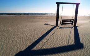 Картинка море, пляж, пейзаж, качели, настроение