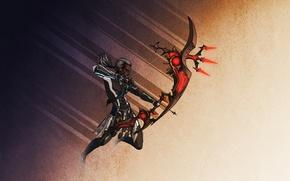 Картинка эльф, воин, лук, фэнтези, стрелы, лучник, темный эльф