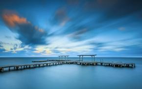 Картинка море, небо, облака, берег, вечер, пирс, штиль, мостик, Испания