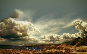 Обои небо, пейзаж, пустыня