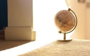 Обои свет, комната, глобус