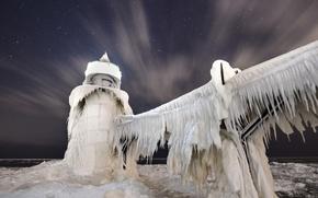 Картинка ночь, лёд, Lake Michigan, St. Joseph Lighthouse