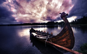 Картинка лодка, вода, пейзаж, викинг, деревья, облака