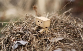 Картинка трава, листья, робот, danbo, куча
