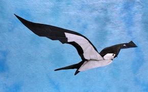 Обои птица, ласточка, оригами, бумага