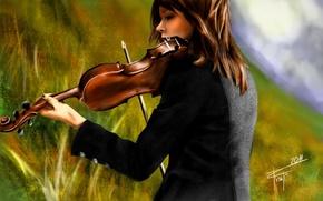 Lindsey Stirling, скрипка, рисунок, живопись обои