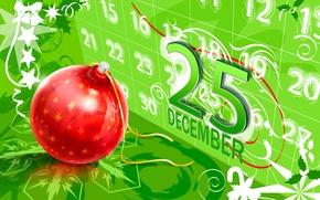 Картинка вектор, шарик, Рождество, календарь, открытка