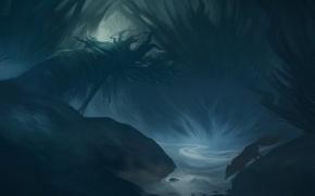 Обои дерево, ночь, река, арт, лиса