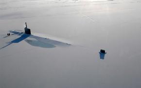 Обои океан, лед, субмарина