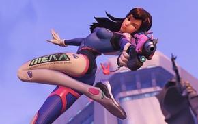 Картинка девушка, пистолет, красавица, blizzard, Overwatch, D.Va