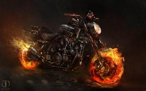 Обои spirit of vengeance, байк, Призрачный гонщик 2, ghost rider, мотоцикл, Yamaha VMAX