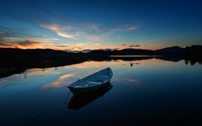 Картинка закат, озеро, лодка, спокойствие, вечер