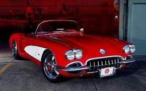 Картинка красный, тюнинг, ангар, corvette, полумрак, шевроле, диски, классика, chevrolet, tuning, передок, кастом, корвет, custom, 1959, …