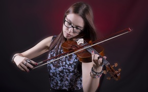 Обои девушка, скрипка, музыка