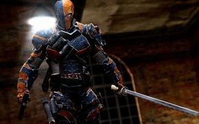 Обои пистолет, меч, маска, броня, патроны, гранаты, наёмник, ассасин, обойма, антигерой, Batman: Arkham Origins, Warner Bros. ...