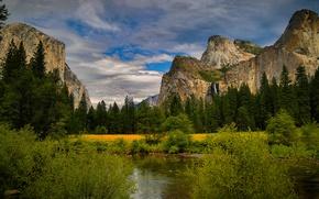 Картинка горы, водопад, деревья, кусты, Национальный парк Йосемити, Yosemite National Park, речка, лес, облака, небо, скалы, ...