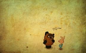 Обои пятачок, мультики, winnie pooh, piglet, cartoons, винни-пух, words, 1920x1080, рисунок, слова, picture, lettering, надпись