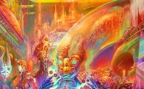Картинка город, радуга, фэнтези, арт, существа, психоделика, psy, инопланетные, больше звёздочек