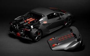 Картинка Lamborghini, Grey, Sesto Elemento, Supercar, Hood, Rear