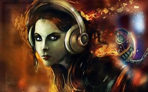 Картинка девушка, музыка, рисунок, наушники