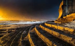 Картинка облака, свет, пейзаж, закат, природа, light, nature, sunset, seascape, cloudscape