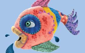 Обои Fish, Лоскутки, Губки, Рыбка