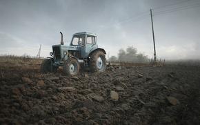 Картинка поле, небо, трактор, Беларус
