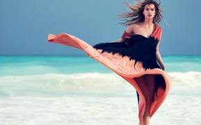 Картинка море, волны, лето, взгляд, лицо, ветер, модель, платье, красотка, Barbara Palvin, Барбара Палвин, Victoria's Secret …