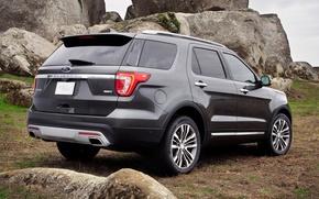 Картинка Ford, Explorer, Silver, Rear, Platinum, (2016)