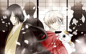 Картинка тень, лепестки, рога, кимоно, печать, тетрадь дружбы нацумэ, takashi natsume, nyanko-sensei, matoba seiji, natsume yuujin …