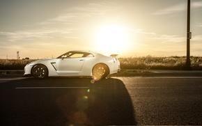Картинка GTR, Nissan, white, wheels, спорткар, side, ниссан, stance