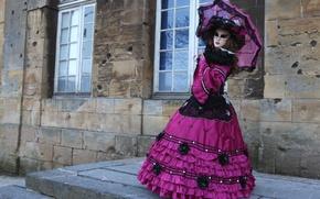 Картинка зонт, платье, маска, костюм, Венеция, карнавал