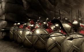 Обои 300, спартанцы, щиты, копья