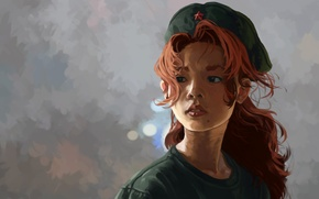 Картинка девушка, арт, рыжая, Chuugoku