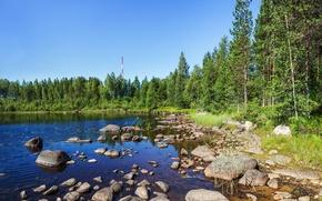 Картинка лето, трава, вода, река, камни, вышка, dibr