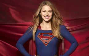 Обои сериал, Melissa Benoist, Мелисса Бенойст, Супергёрл, комикс, прическа, девушка, Supergirl, поза, красный, 2015, DC Comics, ...