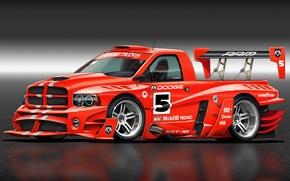 Картинка арт, Dodge, додж, front, race car, Ram, обвес