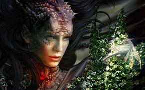 Картинка девушка, магия, дракон