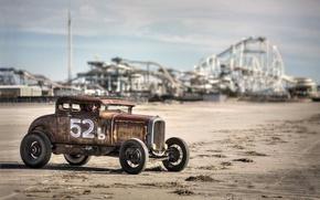 Картинка машина, пляж, фон