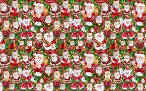 Картинка рисунок, новый год, подарки, санта клаус, дед мороз, текстуры, много, коробки